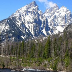 While you won't ascend the Grand Tetons, you will ride at their feet.
