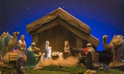 Nativity scenes of all sizes are displayed at Christmas to depict the birth of Jesus.