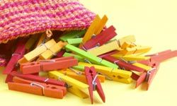 If you play the clothespin game, spring for colorful clips that match the decorations of the shower.