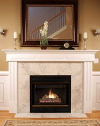 Pillars and pilasters lend a unique accent to a fireplace.