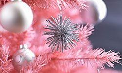 A pink tree with sparkly ornaments is clearly for a birthday, not Christmas.