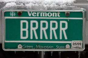 A Vermont license plate makes a statement about the weather in Stowe, Vt.