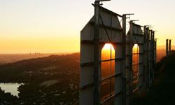 The view from atop the world-famous Hollywood sign.