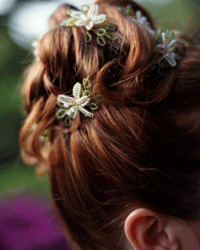A high-placed chignon is a classic bridal hairdo option.
