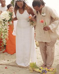 Jumping the broom originated during the time of slavery as a symbolic way of leaping into a new life.