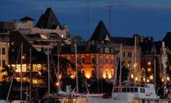 Victoria Harbor sparkles at twilight.