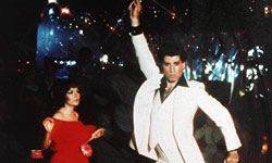 """The height of disco fashion can be seen on the screen in """"Saturday Night Fever."""""""