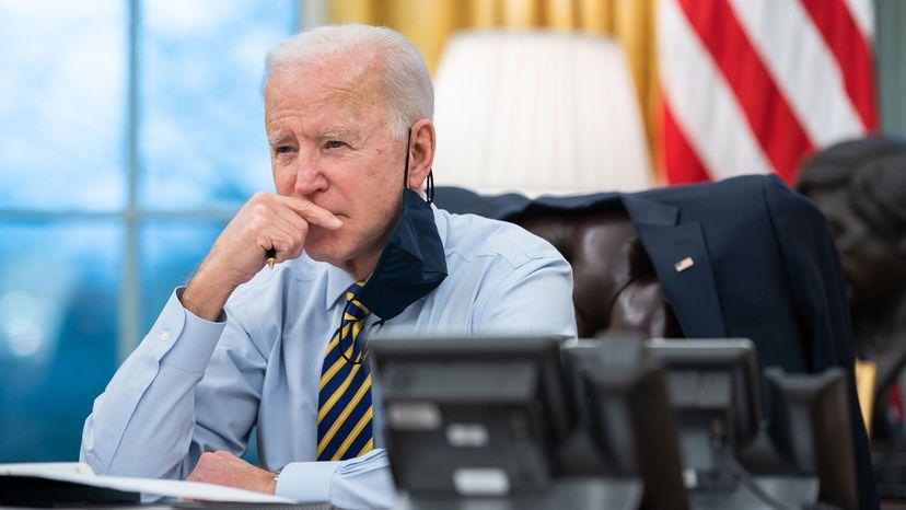 President Joe Biden participates in a conference phone call