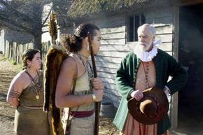 Actors play the parts of colonists and Wampanoag at Plimouth Plantation, a recreation of Plymouth Colony. Note the authentic clothing, which differs from the usual depictions of Thanksgiving.