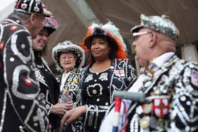 Pearly Kings and Queens celebrate their annual Harvest Festival in London, England.