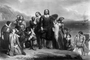 The Pilgrim fathers land in New England, where they founded the Plymouth Colony.