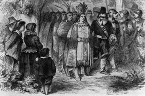 Chief Massasoit pays a visit to the Pilgrims' camp at Plymouth Colony, circa 1621.