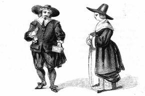 A woodcut showing a couple in traditional Puritan dress.