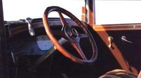 The walnut steering wheel was one of the many elegant features of the Nash Advanced Six Coupe.