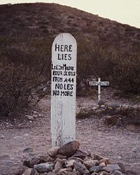 The final resting place of poor unfortunate Lester Moore, at Arizona's Boot Hill Cemetery.
