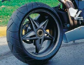The F4 Strada's rear wheel is typical of the the bike's efficient engineering and lightweight materials.