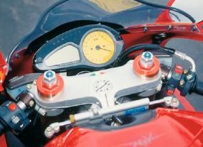 The instrument panel was as sleek and high-tech as the rest of the F4 Strada.