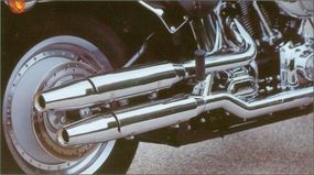 The exhaust pipes of the 2002 Harley-Davidson FLSTF Fat Boy were rerouted to expose more of the motor.