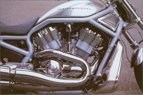 The 2002 Harley-Davidson VRSCA V-Rod motor produces an impressive 115 horsepower at 8,250 rpm -- more than any other street motorcycle the company has ever produced.