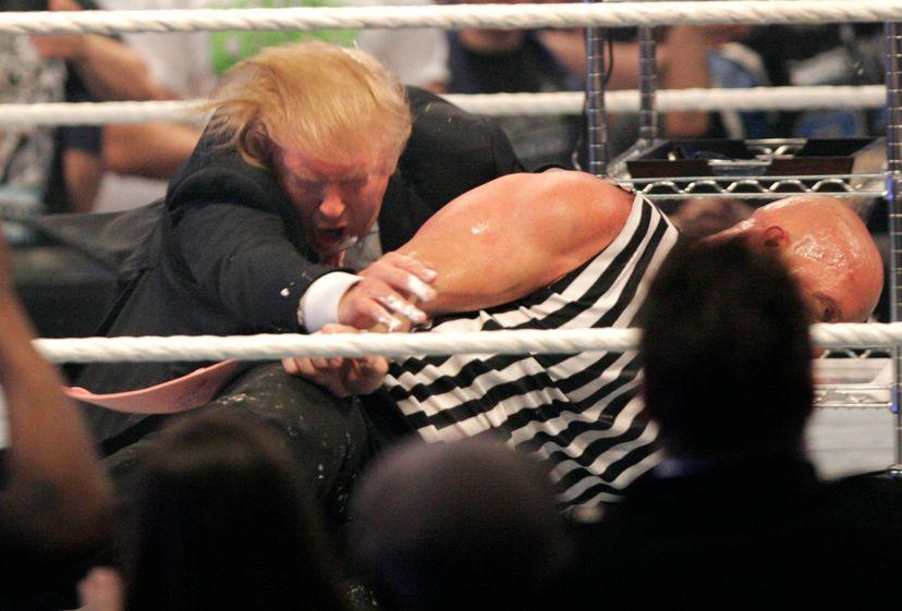 donald trump wrestles with steve austin at wwe wrestlemania 2007
