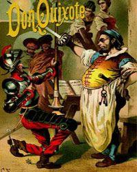 """A cover of Miguel de Cervantes' novel """"Don Quixote,"""" circa 1900."""