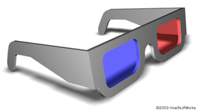 3-D glasses with red/blue lenses
