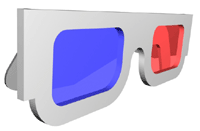 3-D glasses with red/blue lenses.