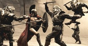 Leonidas (Gerard Butler) fights his way through the first wave of Persian infantry.