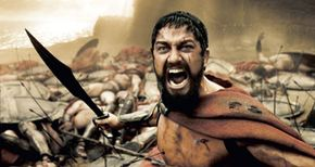 A wounded Leonidas (Gerard Butler) roars his defiance at the Persian invaders.