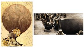"""One the left, a panel from Frank Miller's graphic novel """"300."""" On the right, the corresponding scene as it appears in the finished film."""