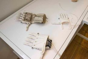 Prosthetic, mechanical hands were on display at the 3D Printshow, held at Metropolitan Pavilion, New York in 2014.