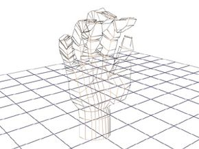 This illustration shows the wireframe of a hand made from relatively few polygons -- 862 total.