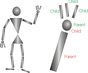 The closeup shows the skeleton's arm. You see that the finger objects are children to the hand object, which in turn is a child to the forearm object.
