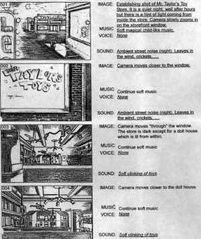 A storyboard for the opening FMV in Portal Runner