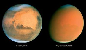 Mars has a very dusty surface. Occasional high winds can cause dust storms so large they can cover the whole planet. Compare the picture on the right with the one on the left. The picture on the right is vivid; on the left a huge dust storm has blurred the surface of the planet.