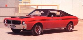 The red 1969 Javelin SST was unusual in that it sported the 232-cid, 145-horsepower six-cylinder engine, good for 24 mpg.