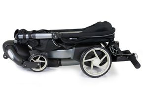 The Origami is a power folding stroller -- just twist a knob and push a button near the handle bars to set it in motion.