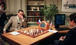 Garry Kasparov considers his next move in the 1997 rematch against IBM's Deep Blue.