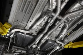 The underside of a 2012 Ford Mustang Boss 302.