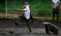 """Participants in the UK's 2007 swamp soccer tournament in Dunoon, Scotland, give """"playing dirty"""" a whole new meaning."""