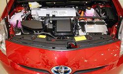 The engine of Toyota's third-generation Prius is displayed during a press conference in Tokyo, Japan.