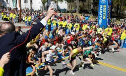 The elite men start the 114th running of the Boston Marathon in Hopkinton, Mass., Monday, April 19, 2010.