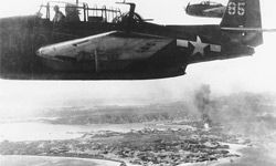 U.S. carrier-based torpedo bombers are seen during an attack on Japanese airbases at Okinawa, Ryukyu islands, on Oct. 9, 1944.