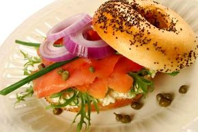 Smoked salmon on a toasted bagel is a light, yet filling breakfast.