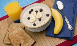 Eating whole-grain oats will keep you alert through the morning. See more food guide pictures.