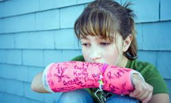 The arm is the second most common broken bone among children, just after the collarbone.