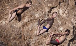 Contests don't have to be dangerous. Some, like the 2009 Red Bull Cliff Diving World Series in Cape Sounion, Greece, can be a lot of fun.