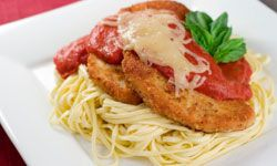 Chicken Parmesan also makes the perfect topping for a bowlful of noodles!