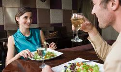 Enjoying dinner and drinks together is the mother of all first dates -- because the formula works.