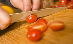 To be super safe, chop your veggies and meats on separate cutting boards.
